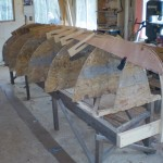 first plank in place (garboard). This plank has severe twist in the aft end.