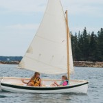 Bill's Drifter with Granddaughters - wooden row and sail version