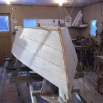 with the planking finished the keel and outer stem are fitted