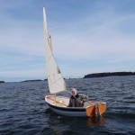 Bill sailing his new boat, Maine - sail and row boat version