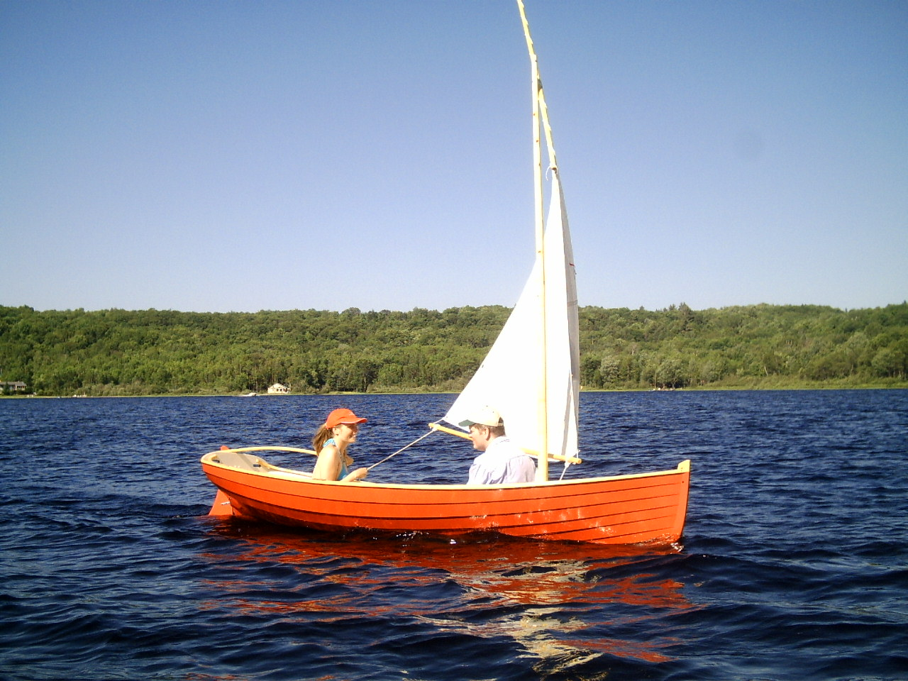 12ft 13ft acorn skiff wooden row and sail boat harwood water craft